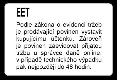 EET Samolepící etiketa 93mm x 62mm, bílý PE, 1ks