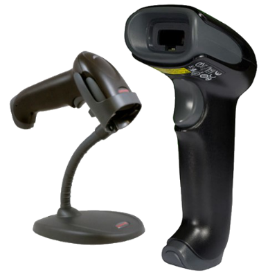 Honeywell 1450 g Voyager handheld omnidirectional barcode reader, 1D, USB, black, with flexible stand