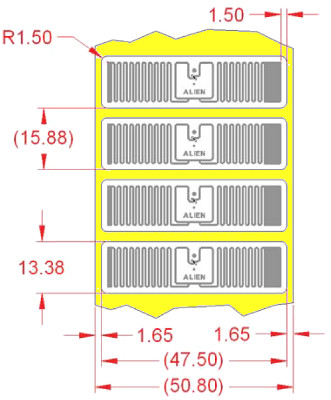 Alien UHF RFID tag, ALN-9710-WRW Higgs-4 Squig, 13.4mm x 47.5mm, nalepovací