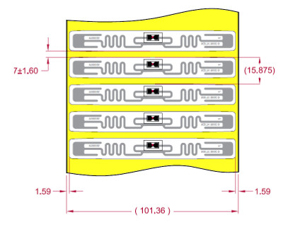 Alien UHF RFID tag, ALN-9640-FWRW Higgs 3 Squiggle, 12mm x 98mm, nalepovací