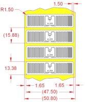 Alien UHF RFID tag, ALN-9610-FWRW Squig Higgs-3, 13.4mm x 47.5mm, nalepovací