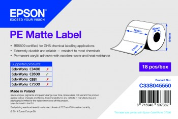 Epson TM-C3500 - PE Matte Label - Die-cut Roll: 76mm x 51mm, 535 labels