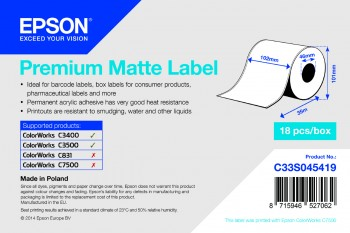 Epson TM-C3500 - Premium Matte Label - Continuous Roll: 102mm x 35m