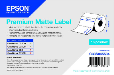 Epson TM-C3500 - Premium Matte Label - Die-cut Roll: 76mm x 51mm, 650 labels