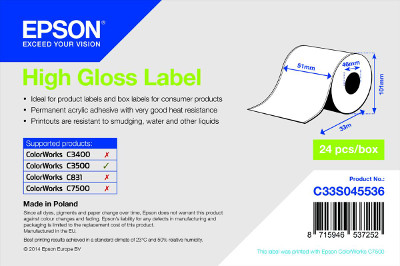 TM-C3500 - High Gloss Label, Die-cut Roll: 68mm x 38mm, 1000 labels