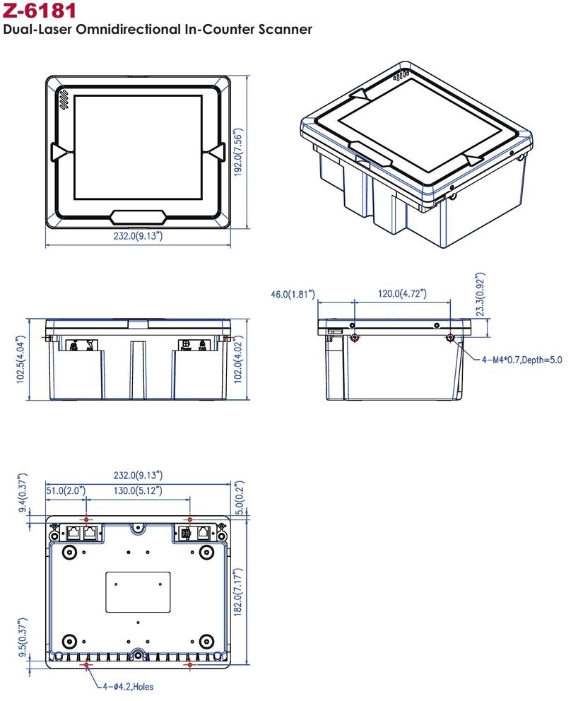 Soupis rozměrů pro montáž všesměrového dual-laserového pultového snímače čárových kódů Zebex Z-6181