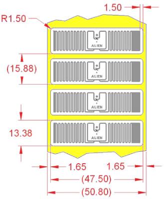 Alien UHF RFID tag, ALN-9710-WRW Higgs-4 Squig, 13.4mm x 47.5mm, selbklebend
