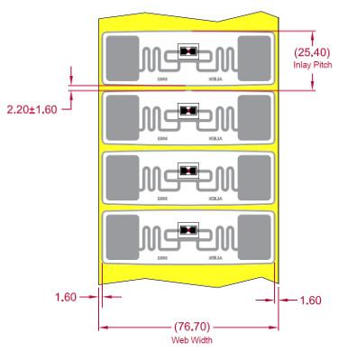 Alien UHF RFID tag, ALN-9662-FWRW Short Higgs-3, 73.5mm x 21.2mm, nálepka