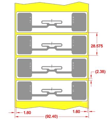Alien UHF RFID tag, ALN-9768-WRW Wonder Dog Higgs-4, 89.2mm x 26.2mm, nálepka