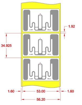 Alien UHF RFID tag, ALN-9828-FWRW GT Higgs-EC, 53mm x 33mm, nalepovací