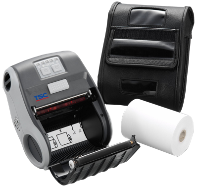 TSC Alpha 3R - printer, protective bag and roll of thermopaper